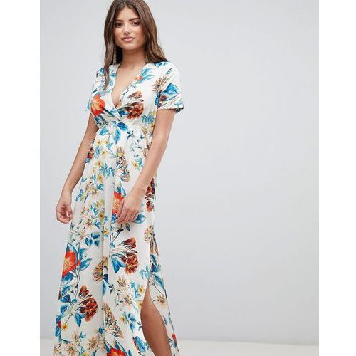PrettyLittleThing V Neck Floral Maxi Dress - White, kolor biały