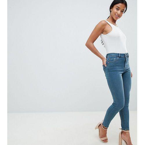 ASOS DESIGN Petite Ridley high waist skinny jeans in amaris green cast wash - Blue