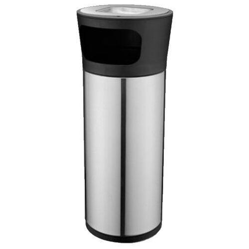Koszopopielnica okrągła, srebrna kosz na śmieci z popielniczką, popielnica stojąca marki Clean
