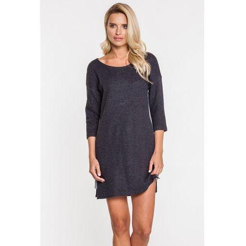 Krótka sukienka z ciemnoszarej tkaniny - Jelonek, kolor czarny
