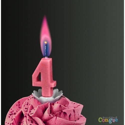 """Sens Świeczka cyferka czwórka """"4"""" z różowym płomieniem - 1 szt."""
