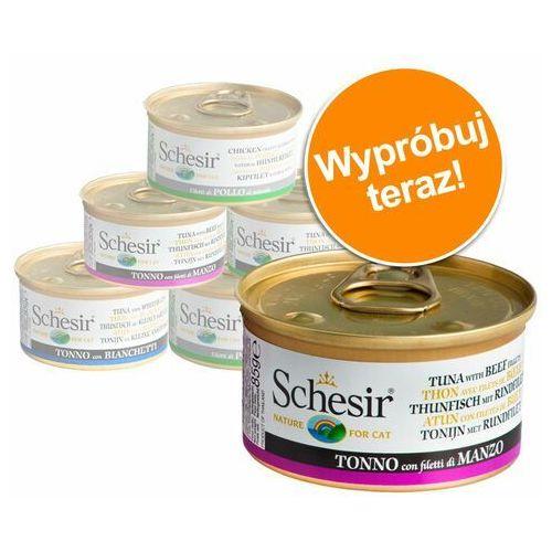Pakiet próbny Schesir Wariacje 6 x 70 g / 75 g / 85 g - W bulionie z rybą, 6 x 70 g