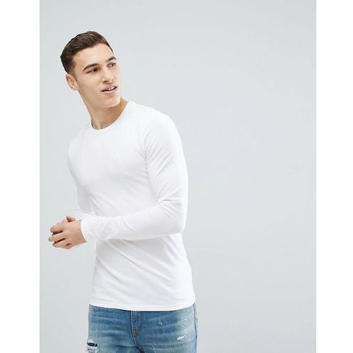 extreme muscle fit long sleeve t-shirt in white - white marki River island