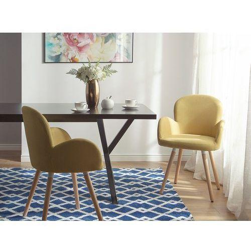 Zestaw do jadalni 2 krzesła musztardowe brookville marki Beliani