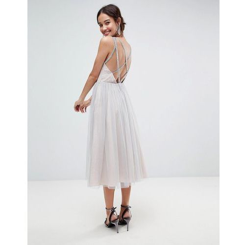 ASOS Tonal Tulle Midi Dress with Embellished Cami Straps - Grey