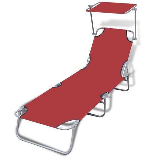 Vidaxl składany leżak ogrodowy z zadaszeniem, czerwony, 189x58x27 cm (8718475877691)