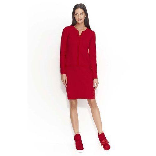 Czerwona Sukienka z Ozdobnymi Szwami, DNU55re