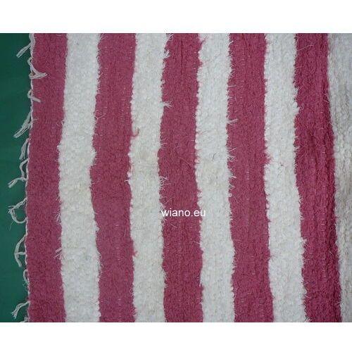 Spółdzielnia twórców ludowych Chodnik bawełniany ręcznie tkany 65x150 cm różowo-ecru (k-24)
