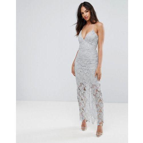 Ax Paris Grey Lace Maxi Dress - Grey, kolor szary
