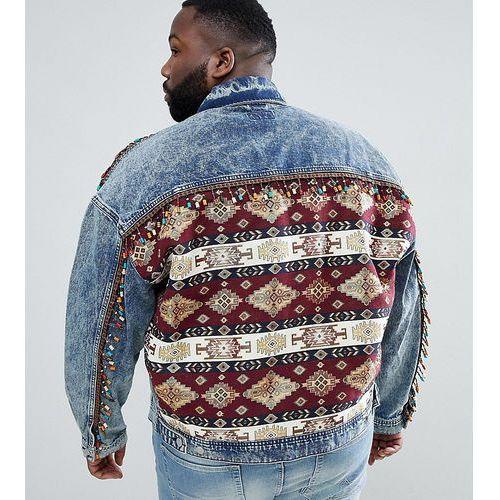 design festival plus oversized denim jacket with back print and beading - blue, Asos
