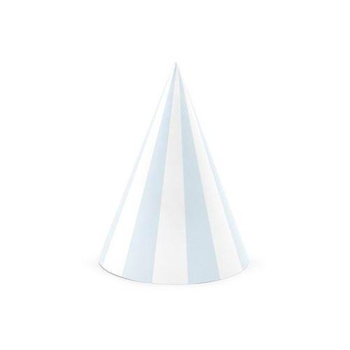 """Czapeczki papierowe """"paski"""", niebieski jasny, , 16 cm, 6 szt marki Partydeco"""