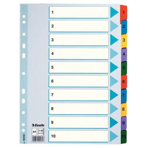 Przekladki numeryczne mylar a4/1-10 kolorowe 100161 marki Esselte