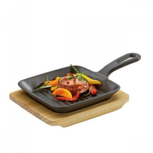 Kuchenprofi Mini patelnia grillowa do serwowania z podstawką, 23 x 13,5 x 5,5 cm, żeliwo/drewno sosnowe