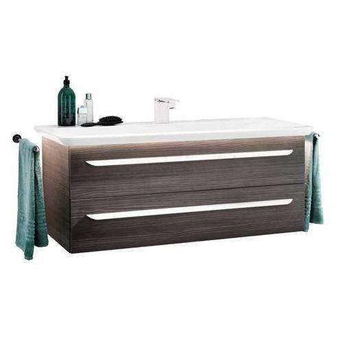 Lanzet Zestaw szafka w kolorze ciemny dąb z umywalką 127,5 cm m9
