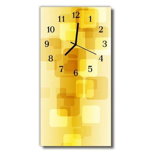 Zegar szklany pionowy sztuka złote prostokąty żółty marki Tulup.pl