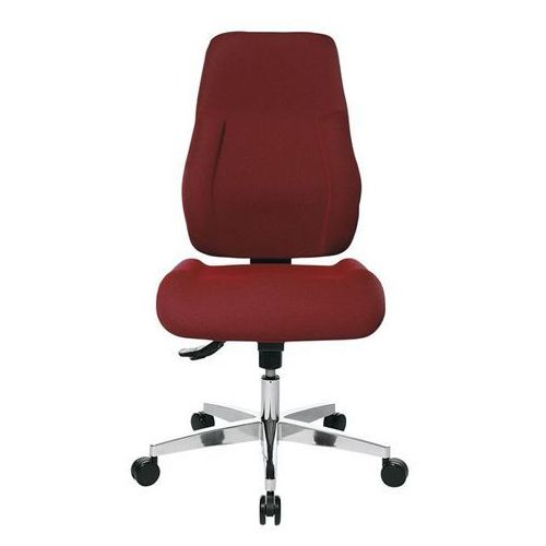 Krzesło obrotowe dla operatora, wyściełane oparcie, obicie czerwone. łatwe w utr marki Topstar