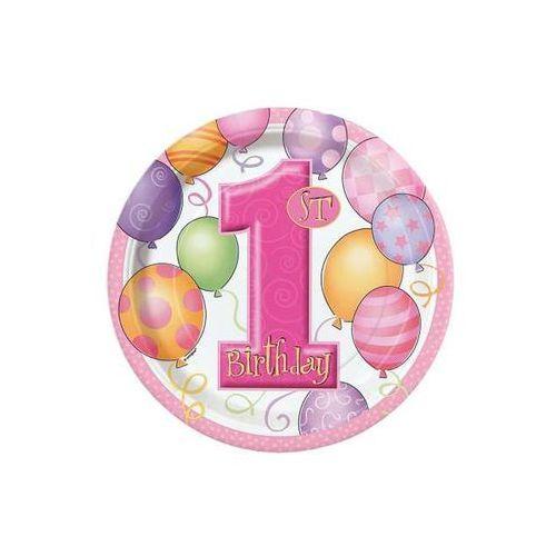 Talerzyki na roczek 1st Birthday Baloniki Pink - 18 cm - 6 szt
