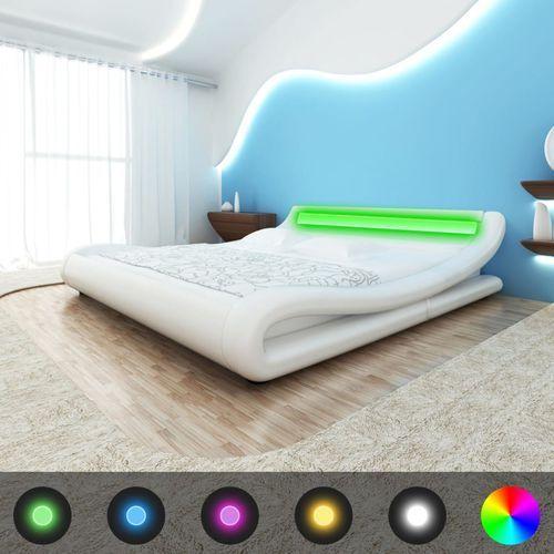 vidaXL Rama łóżka z oświetleniem LED 180x200 cm sztuczna skóra biała