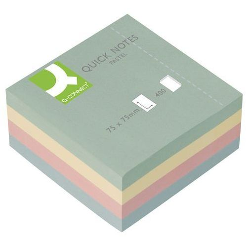 Kostka samoprzylepna Q-CONNECT Brilliant, 76x76mm, 1x400 kart., pastelowa