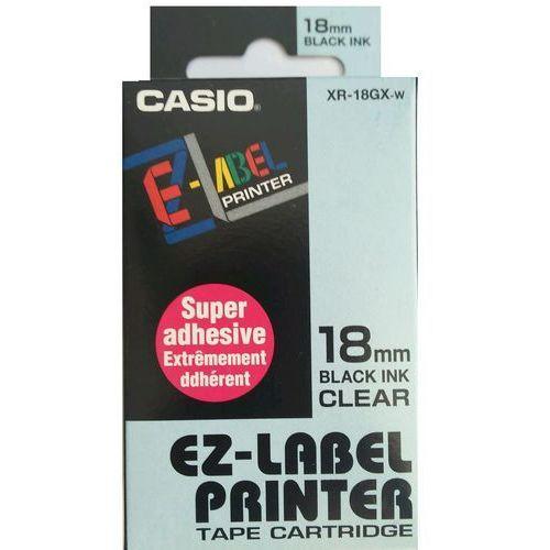 Casio taśma etykiet, mocny klej XR-18GX-W, XR18GXW