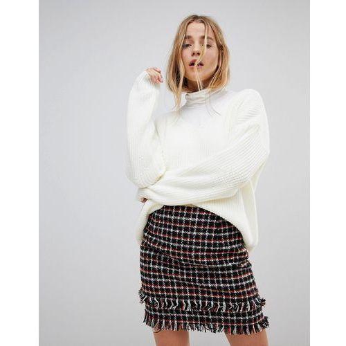 oversized v neck jumper - cream marki Boohoo