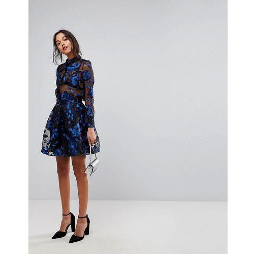 floral embroidered sheer mini skirt - black marki Y.a.s