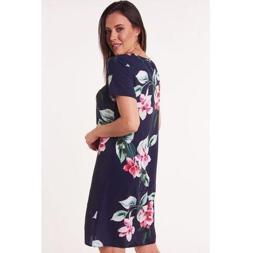 Prosta sukienka granatowa w kwiaty, 1 rozmiar