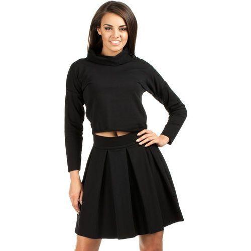 Mini spódniczka z kontrafałdami MOE109 czarna, kolor czarny