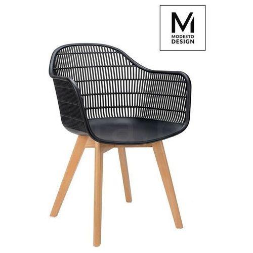Modesto krzesło basket arm wood czarne - polipropylen, nogi jesionowe marki Sofa.pl