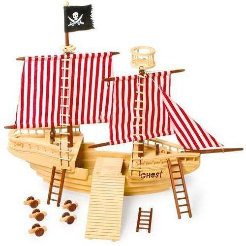 Statek piracki z akcesoriami - 31 elementów - zabawka drewniana dla dzieci