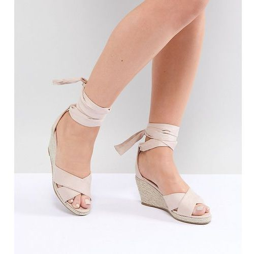 wide fit espadrille wedge sandal - beige, Truffle collection