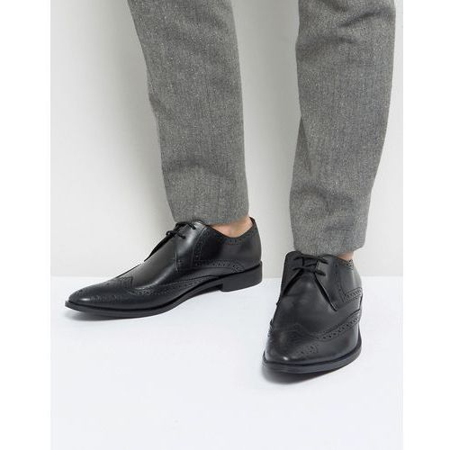wing tip brogue shoes in black leather - black marki Frank wright