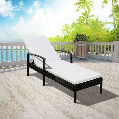 vidaXL Leżak ogrodowy z poduszką, polirattan, brązowy