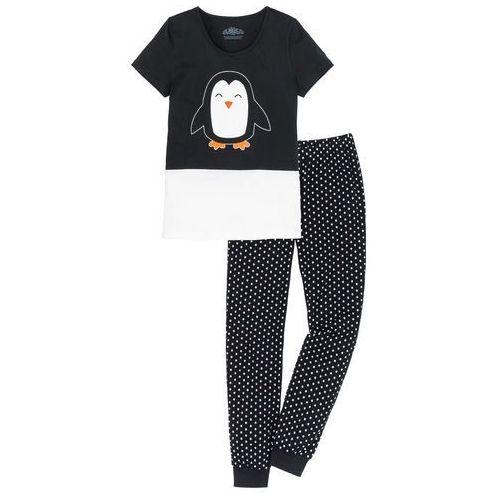 Piżama, bawełna organiczna czarno-biel wełny wzorzysty marki Bonprix