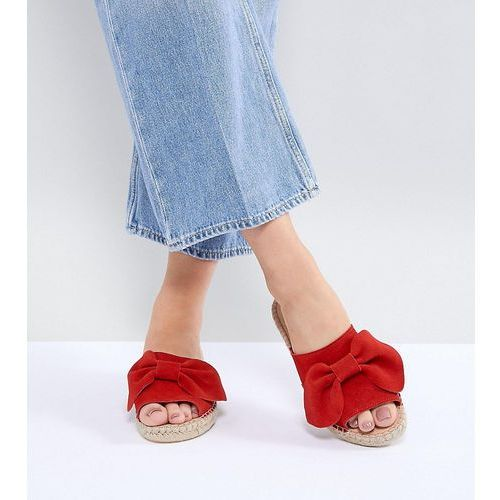 wide fit suede bow espadrille sliders - red, Park lane