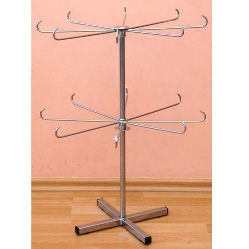 Obrotowy, dwupoziomowy, metalowy stojak do prezentacji biżuterii - srebrny, 00725