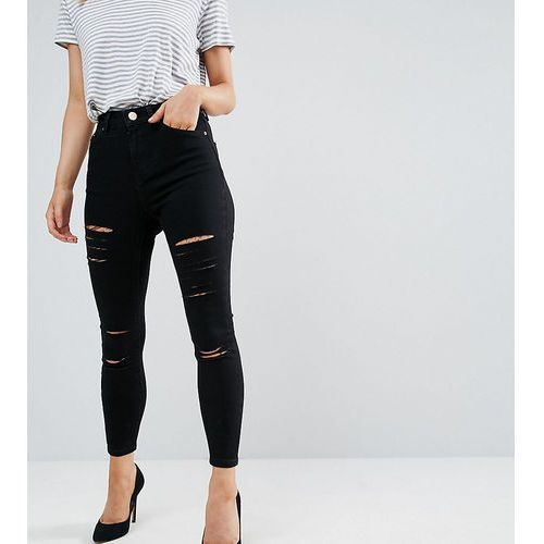 ASOS PETITE Ridley High Waist Skinny Jeans in Black with Shredded Rips - Black