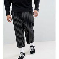 Reclaimed Vintage Inspired Plus Size Relaxed Cropped Trouser In Stripe - Black, kolor czarny