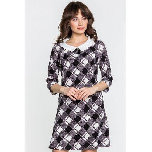 Sukienka w kratkę - Margo Collection, kolor szary