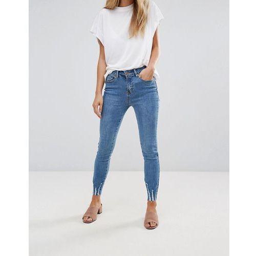 washed front split skinny jean - blue marki New look