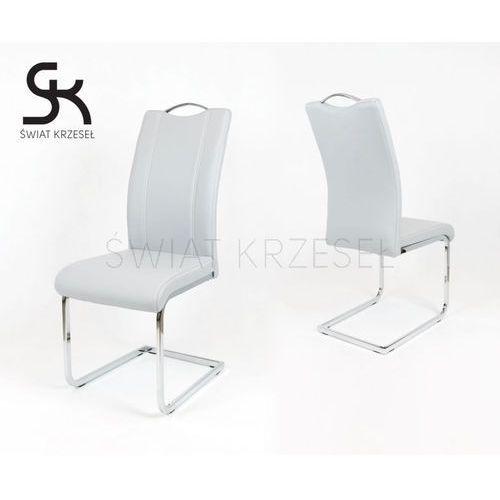 ks003 jasnoszare krzesło z ekoskóry na stelażu chromowanym - jasnoszary marki Sk design