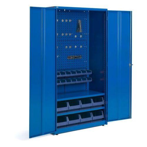 Aj produkty Szafa warsztatowa, 2 półki, panel narzędziowy, 16 pojemników, 1900x1020x500 mm, niebieski