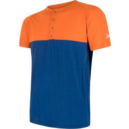 Sensor t-shirt męski z guzikami Merino Air PT pomarańczowo-niebieski XL (8592837051413)