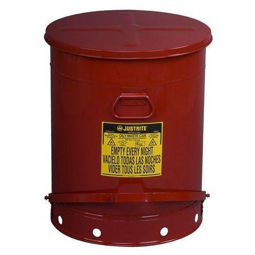 Bezpieczny pojemnik na odpady z blachy stalowej, okrągły, z pedałem nożnym, poj. marki Justrite