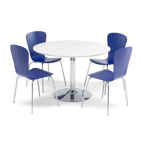 Aj produkty Zestaw mebli do stołówki, stół Ø1100 mm biały, chrom + 4 niebieskie krzesła
