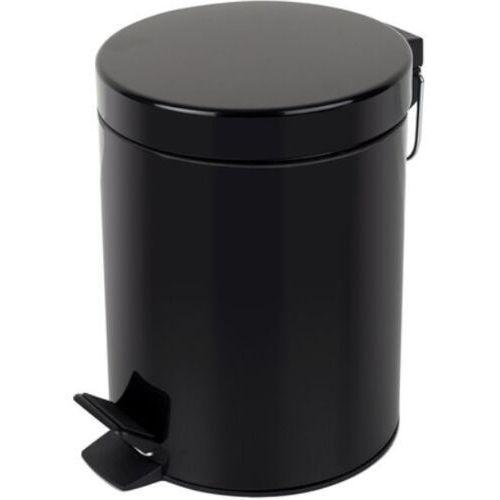 Kosz na śmieci łazienkowy czarny 5l pedałowy Kosz na odpadki czarny otwierany przyciskiem nożnym, kolor czarny