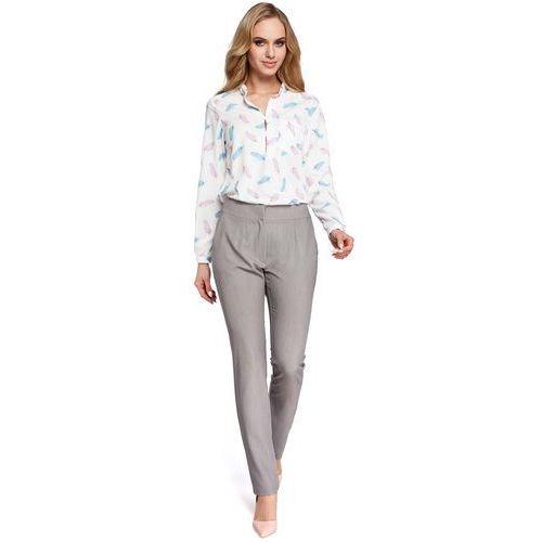 Eleganckie Szare Spodnie Cygaretki, kolor szary