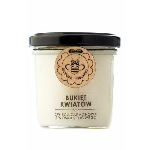 bukiet kwiatów świeca zapachowa z wosku sojowego marki Miodowa mydlarnia