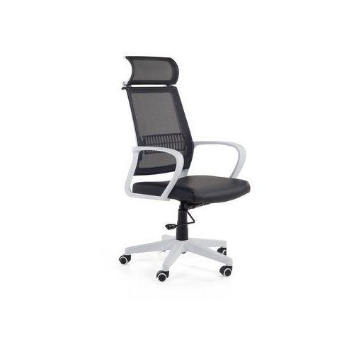 Krzesło biurowe czarno-białe - fotel biurowy - obrotowy - siatka - LEADER (7081459685607)