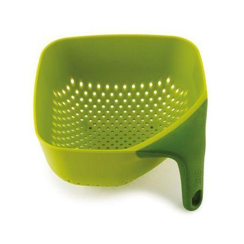 Mały, kwadratowy durszlak z silikonową rączką JJ 40046 zielony Plus
